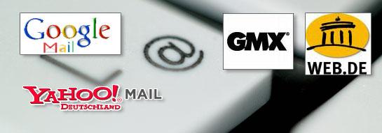 Logos der Mailanbieter in Deutschland